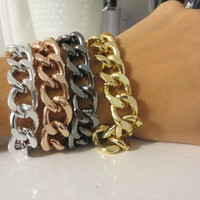 Chunky Gold, Silver, Gunmetal or Rose Gold Chain Bracelet / CHOOSE YOUR STYLE - medium size thick chunky chain, stack, trendy jewelry