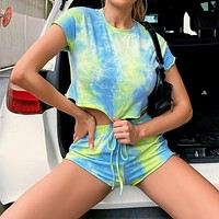 2020 new products women's casual fashion sexy tie-dye casual suit two-piece suit