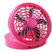 "O2COOL 5"" Portable USB or Electric Fan, Pink"