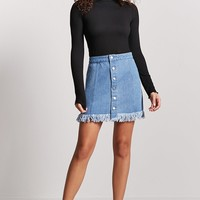 Frayed Button-Front Mini Skirt