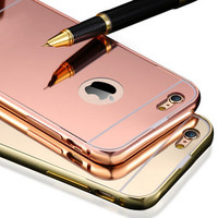Mirror Case for Apple iPhone 5 5S 6 6S /for iPhone6S 6 Plus 5.5 Luxury Plating Metal Aluminum Frame Back Mobile Cover