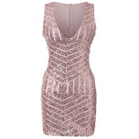 V-Neck Sequined Party Dress