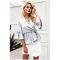 v neck ruffles peplum top Elegent pleated blouse shirt satin