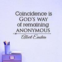Wall Decals Quotes Albert Einstein Coincidence Is Gods Way Of Remaining Anonymous Decal Lettering Stickers Home Decor Art Mural Z788