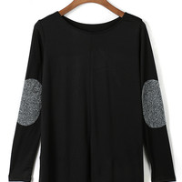 Black Sequins Patched Long Sleeve T-shirt
