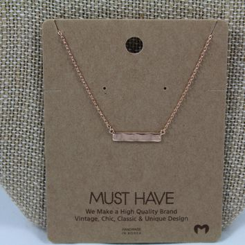Rose Gold Wave Bar Pendant Necklace