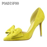 POADISFOO  Spring Sweet high heel shoes women fine shallowly pointed toe suede hollow butterfly knot women shoes .DS-519-1