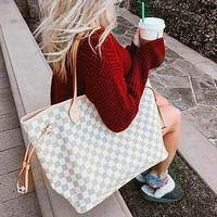Louis Vuitton Two-Piece LV Fashion Women Shopping Leather Tote Shoulder Bag Purse Wallet Set White tartan