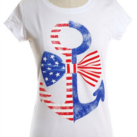 American Flag Anchor and Bow Tee - White