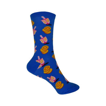 Dreidel and Gelt Crew Socks in Royal Blue