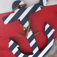Nautical Wood Anchor. Navy and White Stripped Anchor. Wood Anchor. Hand Made Anchor. Made to Order