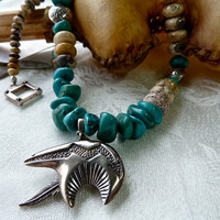 Bear Fetish Natural Turquoise Earthy Necklace - Southwestern Chunky Stone Necklace - One of a Kind