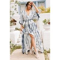 Odessa Tie Dye Maxi Dress (Blue/Off White)