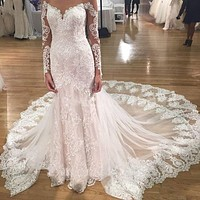 2017 Spring Sexy Long Sleeve Luxury White Lace Mermaid wedding dress bridal gown Vestido De Noiva