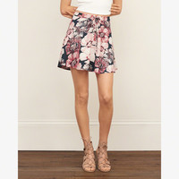 Patterned Lace Up Skirt