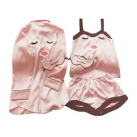 Women Silk Satin Pajamas Set 4 Pieces Stitch lingerie Robe pyjamas Blinder Room Lady Clothes 2018 Top Fashion