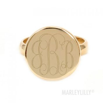 Monogrammed German Silver Taylor Ring   Marley Lilly