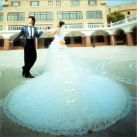Princess 2015 new crystal lace wedding dress wedding large trailing = 1931782788
