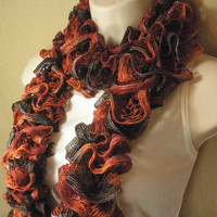 Orange and Brown Lacy Ruffled Knit Fashion Scarf