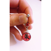 Naruto Itachi Uchiha Cosplay Symbol Belly Button Ring