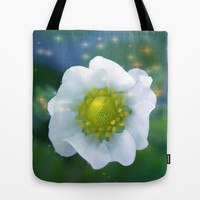 Art style white strawberry flower Tote Bag by NatureMatters