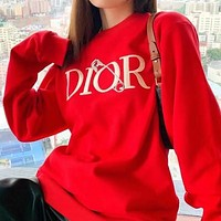 Dior new letter pin DR round neck all-match casual men's and women's jacket sweater