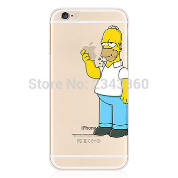 Silicon Cover for iPhone 7 7 Plus 5 5S SE 5C 6 6S Plus Simpson Homer Eating Logo Soft TPU Case