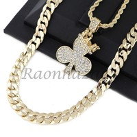 """CED OUT KING CROWN CLOVER PENDANT DIAMOND CUT 30"""" CUBAN ROPE CHAIN NECKLACE G41"""