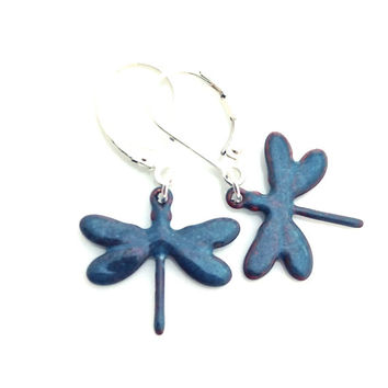 Rustic Dragonfly Earrings, Sterling Silver Leverback, Blue Enamel Jewelry, Insect Butterfly Dangle, Dragon Fly, Nature Theme, 486