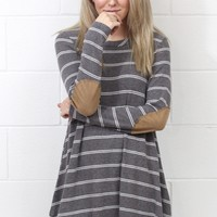 Brushed Hacci Striped Elbow Patch Long Sleeve {Charcoal Mix}