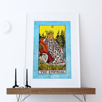 Tarot Print The Empress Retro Illustration Art Rider Print Vintage Giclee on Cotton Canvas or Paper Canvas Poster Wall Decor