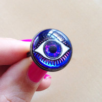 Blue Evil Eye Ring - 18mm Glass Eyeball Cabochon, Color-Changing, Mood Jewelry, Antique Bronze Adjustable Ring, Purple, Pink, Mystical, Boho