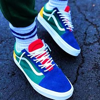 Onewel Vans Skate shoes Old Skool Classics Sneaker Green Blue Yellow Red Contrast Flat Shoes