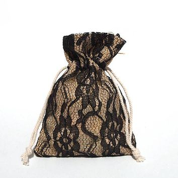 Faux Burlap Bags Lace Overlay, 4-Inch x 5-Inch, 6-Piece, Black
