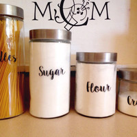 Canister Set Decals | Personalized Canister Set | Kitchen Canister Labels | Canister Set Labels | Set of 4| Word Vinyl Decal | Customized