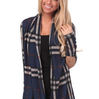 Navy Plaid Cardigan with Elbow Patch