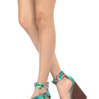 Sea Foam Floral Print Ankle Strap Wooden Wedges