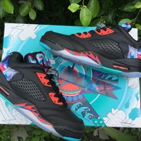 Nike Air Jordan 5 Retro Low CNY   Black Bright Crimson  Basketball Sneaker