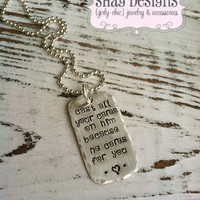 Stamped Scripture Dog Tag Necklace