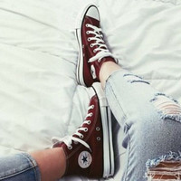 """Converse"" Fashion Canvas Flats Sneakers Sport Shoes High tops Wine red"