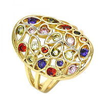 Gold Layered Multi Stone Ring, Heart and Teardrop Design, with Cubic Zirconia, Golden Tone