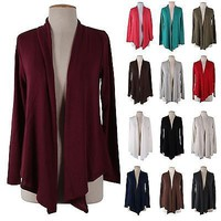 Solid Plain Long Sleeve Open Front Draped Knit Shawl Cardigan Irregular Hem