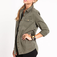 ARMY BASE BUTTON UP TOP
