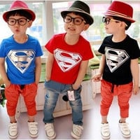 Hot Sale Children Kids Clothing Tees,Cool Superman Baby Boys T Shirts For Summer,Children Outwear Baby T-shirt = 1946556740