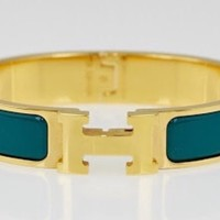 Brandnew In Box Hermes Clic Clac H. Enamel Bracelet Veronese Color Gold Plating