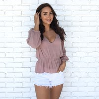 Easily Tempted Blouse in Mauve