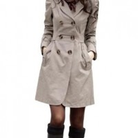 Allegra K Women's Double Breasted Button-Tab Epaulets Self Tie Trench Jacket