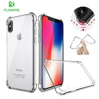 FLOVEME Shockproof Case For iPhone 8 Plus 6 6S Transparent Anti-knock Cover For iPhone X Case For iPhone 6 6S Plus 7 Plus 8 Plus