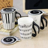 Black and White Music Note Mug by goodbuy on Zibbet