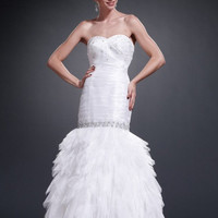 AB5300 White Mermaid Prom Dress Evening Gown